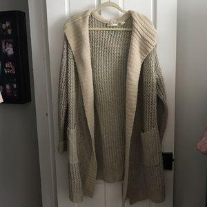 Anthropologie Wool Car Coat with Hood- Sz M